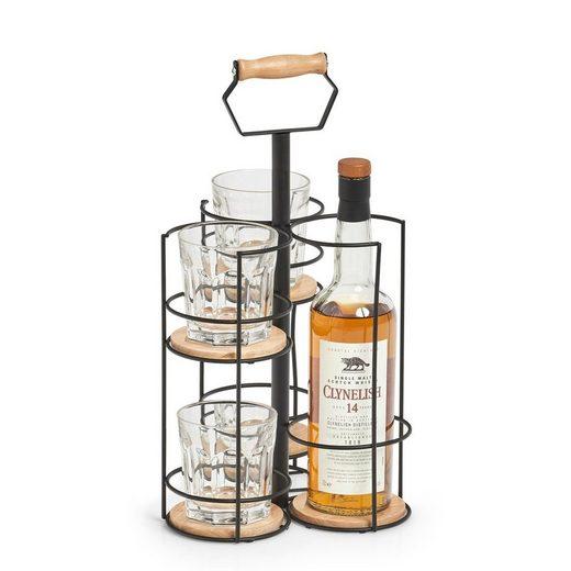 Zeller Present Weinflaschenhalter  (1-St)  Metall  auch für Whiskyflaschen samt Gläser perfekt geeignet