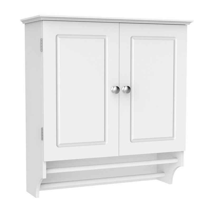 Yaheetech Hängeschrank Badschrank mit Zwei Türen & Handtuchhalter Wandschrank Küchenschrank Medizinschrank Weiß BHT ca: 60x64x22,5cm