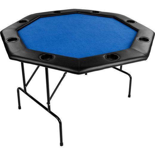"""MAXSTORE Spieltisch »Maxstore Faltbarer Pokertisch """"Flush""""«, für bis zu 8 Spieler, achteckig, Maße 120x120 cm, MDF Platte, gepolsterte Armauflage, 8 Getränkehalter"""
