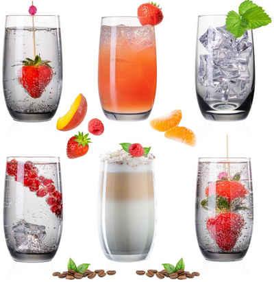 PLATINUX Glas »Trinkgläser«, Glas, Ombré Schwarz 280ml (max. 370ml) 6 Teilig Wassergläser Saftgläser Longdrinkgläser