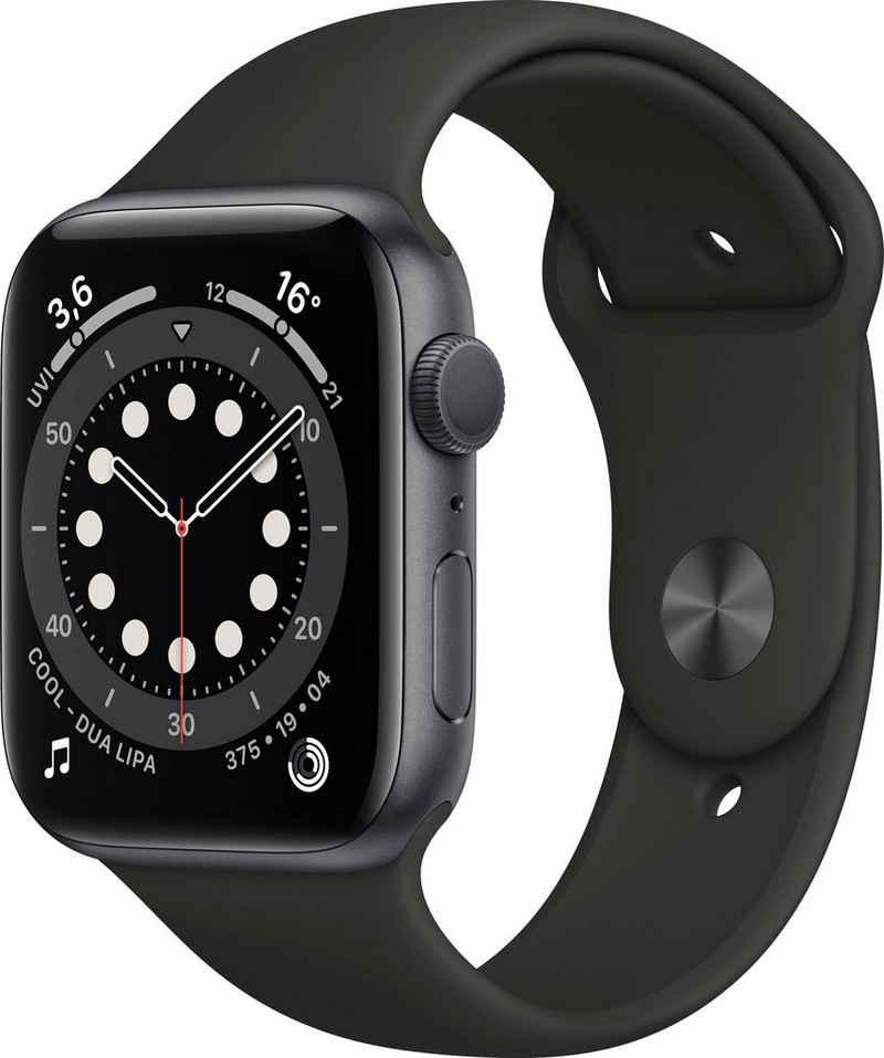 Apple Series 6 GPS, Aluminiumgehäuse mit Sportarmband 44mm Watch (Watch OS), inkl. Ladestation (magnetisches Ladekabel)