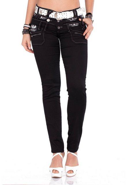 Hosen - Cipo Baxx Bequeme Jeans im Straight Fit Schnitt und coolem Gürtel › weiß  - Onlineshop OTTO