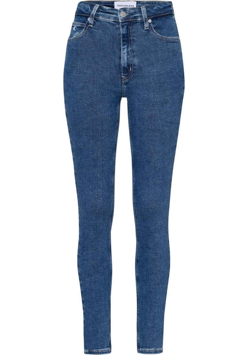 Calvin Klein Jeans Skinny-fit-Jeans »HIGH RISE SKINNY« mit CK Monogramm Logo-Stickerei & Badge