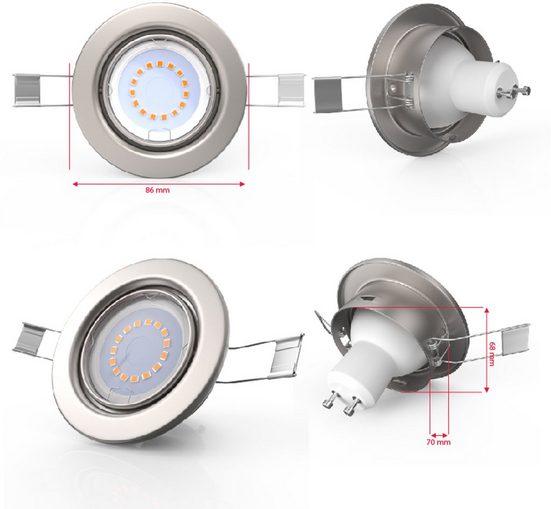 B.K.Licht LED Einbauleuchte  GU10  dimmbar