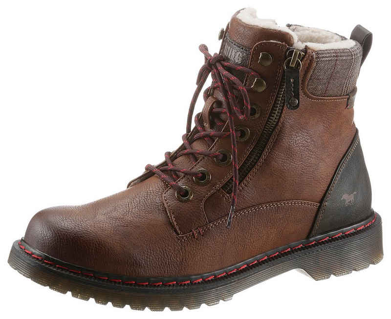 Mustang Shoes Winterboots mit kariertem Textileinsatz