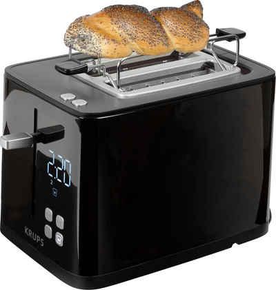 Krups Toaster Smart'n Light KH6418;, 2 kurze Schlitze, 800 W, Digitaldisplay; 7 Bräunungsstufen; Automatische Zentrierung des Brots