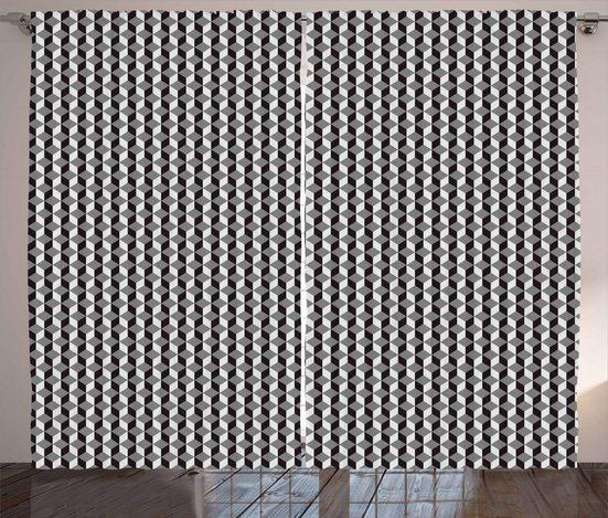 Gardine »Schlafzimmer Kräuselband Vorhang mit Schlaufen und Haken«, Abakuhaus, Geometrisch Chevron Zigzags Cubes