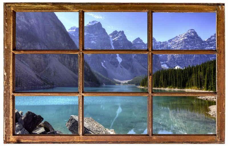 DesFoli Wandtattoo »Berg See Bäume Landschaft H0048«, in Holzfenster-Optik