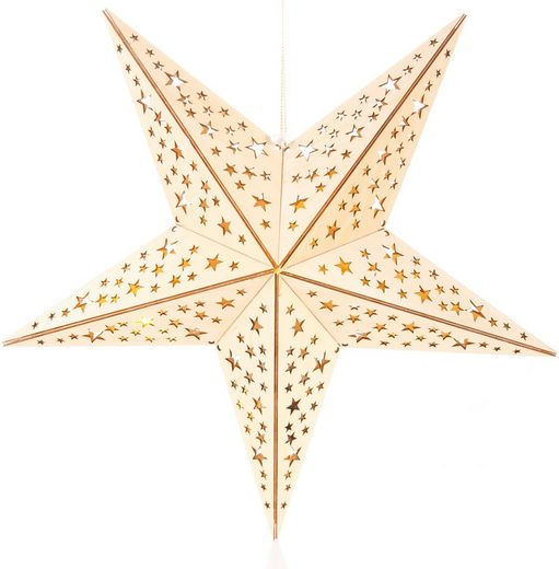 BONETTI LED Stern, aus Holz, mit 10-teiliger Lichterkette