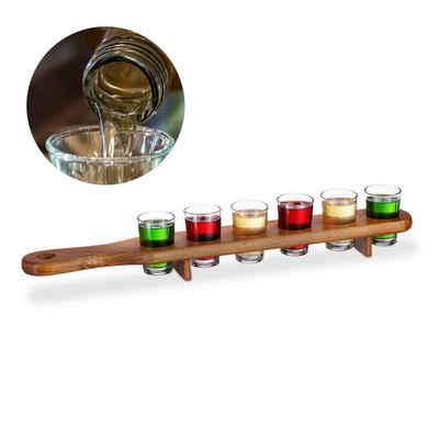 relaxdays Gläser-Set »Schnapsbrett Holz mit 6 Gläsern«, Holz