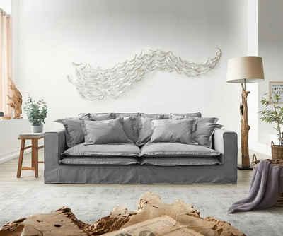 DELIFE Big-Sofa »Noelia«, Grau 240x140 cm mit Kissen Hussensofa