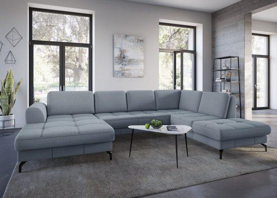sit&more Wohnlandschaft »Bendigo V«, inklusive Sitztiefenverstellung, Bodenfreiheit 12 cm, wahlweise in 2 unterschiedlichen Fußfarben