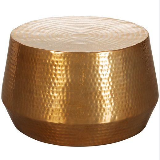 Wohnling Couchtisch »WL5.495«, MAHESH 60x36x60 cm Aluminium Beistelltisch Gold Orientalisch Rund Flacher Hammerschlag Sofatisch Metall Design Wohnzimmertisch Modern Loungetisch Indisch Stubentisch Klein