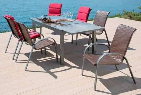 MERXX Gartenmöbelset »Côte d´Azur«, 7-tlg., 6 Sessel, Tisch 200x90x75 cm, grau