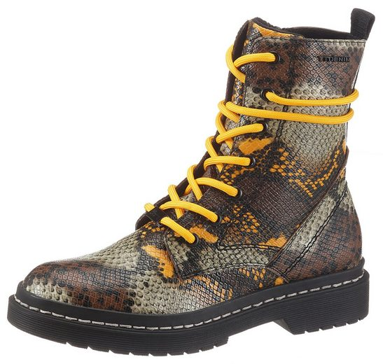 TOM TAILOR Schnürboots in Snake Optik
