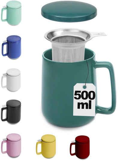 Cosumy Teeglas »Teetasse mit Sieb und Deckel Dunkel Grün 500ml«, Keramik, Hält Lange warm - 500ml XXL Groß - Spülmaschinenfest