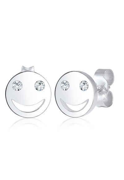 Elli Paar Ohrstecker »Smiley Face Emoji Kristalle 925 Silber«