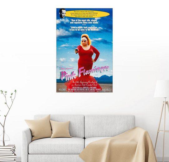 Posterlounge Wandbild, Pink Flamingos