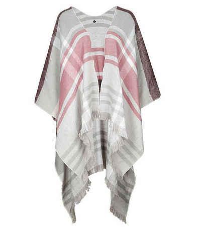 Comma Poncho »COMMA Poncho stylischer Damen Sweater mit Tartan-Muster Herbst-Poncho Hellgrau«