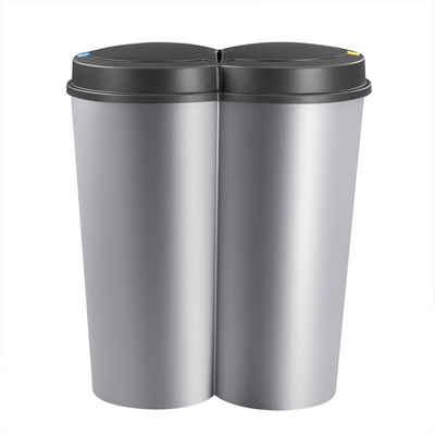 Deuba Mülleimer »Duo Bin«, 50 L 2fach Trennsystem 2x25 L Küche Abfalleimer Müllbehälter Mülltrennung Silber