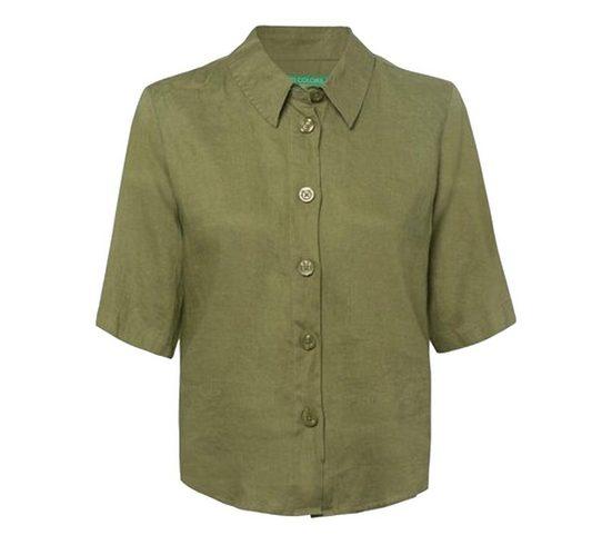 United Colors of Benetton Blusentop »UNITED COLORS OF BENNETON Bluse leichtes Damen Blusen-Hemd aus Leinen Mode-Bluse Khaki«