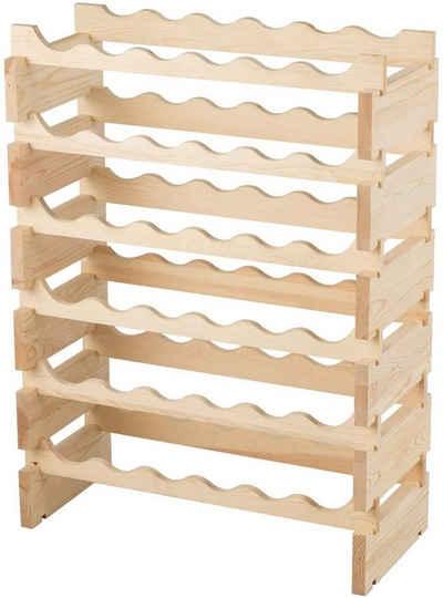 COSTWAY Weinregal »Weinständer Flaschenregal Weinschrank Flaschenständer«, für 36 Flaschen, 6-stöckiger Stapelbar, Holz