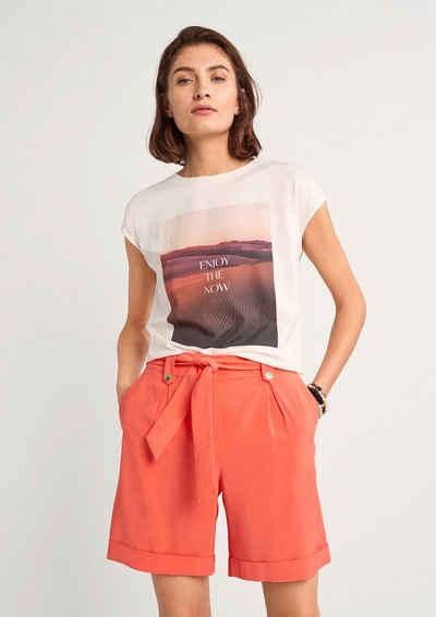 Comma Shorts »Regular Fit: Bermuda mit Bindegürtel« (1-tlg) Zierknopf