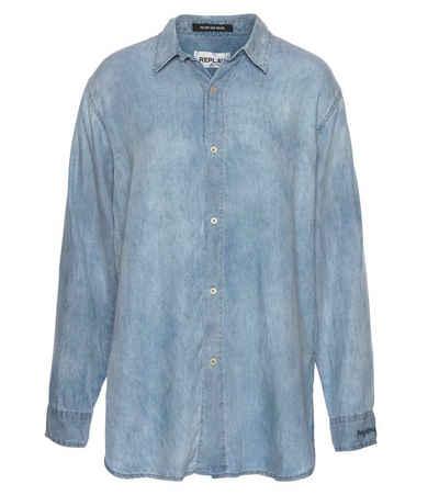 Replay Langarmhemd »REPLAY Shirt leichtes Herren Langarm-Hemd in Jeans-Optik Freizeit-Hemd Hellblau«