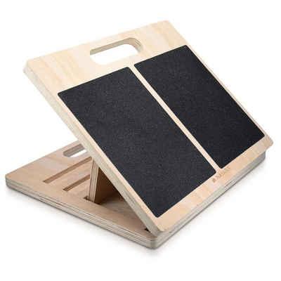 Navaris Balanceboard, Stretch Board Waden Training - Fuß Stretcher Wadenstrecker - Dehnen von Oberschenkel Zehen - Anti-Rutsch Dehn-Board für max. 150kg aus Holz