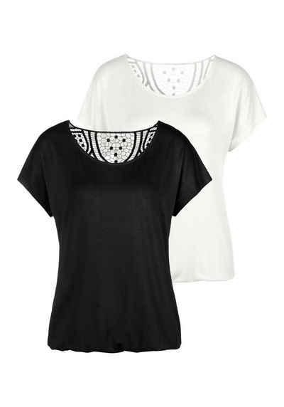 Vivance T-Shirt (2er-Pack) mit weicher Häkelspitze im Rücken