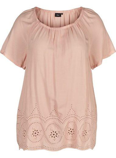 Zizzi Kurzarmbluse Große Größen Damen Viskose Bluse mit kurzen Ärmeln