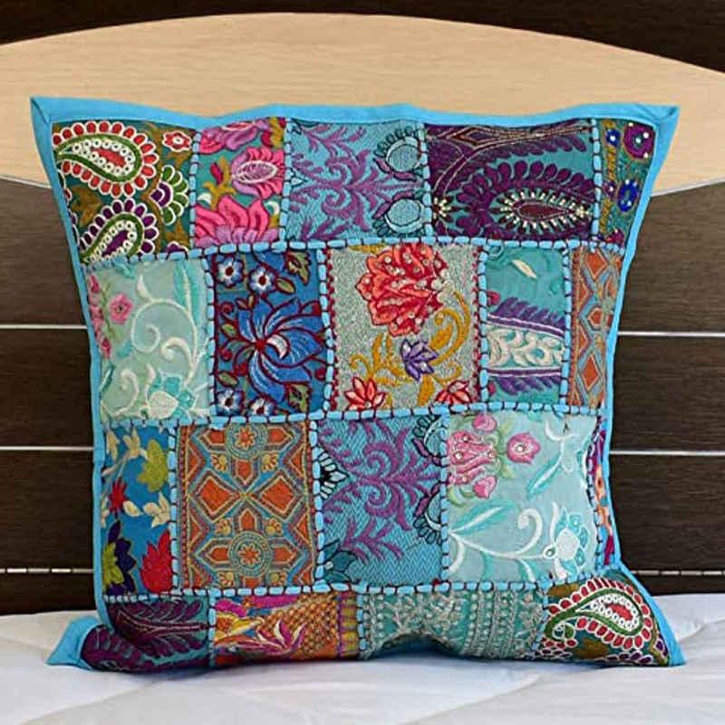 Casa Moro Dekokissen »Orientalisches Patchwork Kissen Mar 40x40 cm aus Baumwolle mit Füllung, Vintage Zierkissen Boho Couchkissen Sofakissen«, Handmade