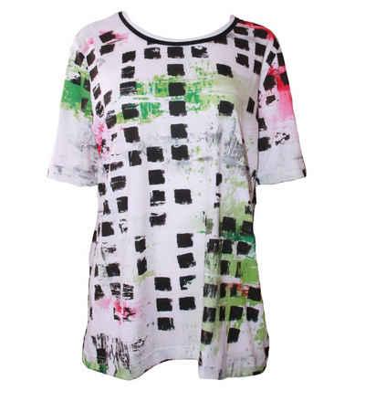 Canyon Kurzarmshirt »CANYON Freizeit-Shirt elastisches Damen Sommer-Shirt mit buntem Muster T-Shirt Strand-Shirt Weiß«
