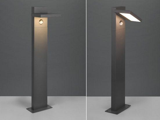 meineWunschleuchte LED Sockelleuchte, 2er Set Wegebeleuchtung für Außen mit Bewegungsmelder Outdoor Stehlampe schwenkbar Garten Terrassen-Leuchte, Anthrazit 50cm