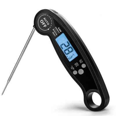 H-basics Kochthermometer »Faltbarer Küchen-Thermometer – in Schwarz – Digitaler Thermometer mit faltbarer Edelstahl-Sonde zum Grillen, Kochen, Backen, Braten«