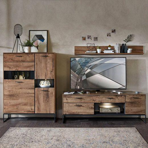 Lomadox TV-Wand »MINNEAPOLIS-55«, (3-tlg), TV-Wohnwand im Industrial Look in Haveleiche Cognac Dekor mit graphit, B/H/T ca: 310/165/48 cm