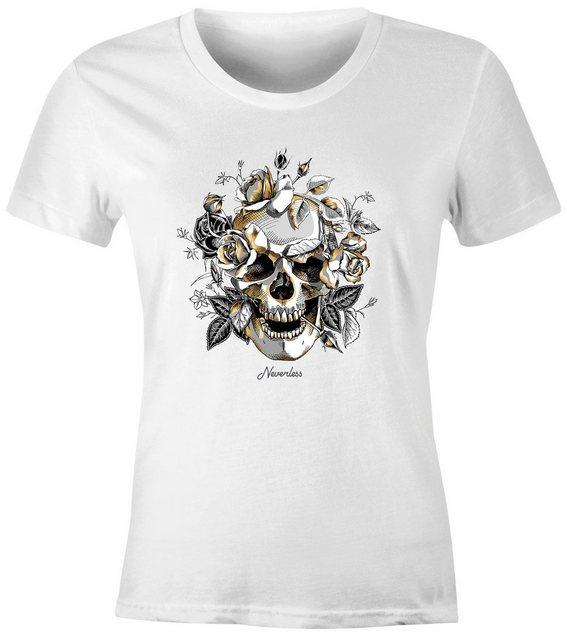 Neverless Print-Shirt »Damen T-Shirt Totenkopf Rosen Skull Roses Schädel Slim Fit Neverless®« mit Print | Bekleidung > Shirts > Print-Shirts | Neverless