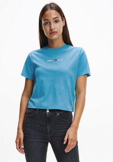 Tommy Jeans Rundhalsshirt »TJW BXY CROP LINEAR LOGO TEE« mit Tommy Jeans Linear Logo-Schriftzug gestickt