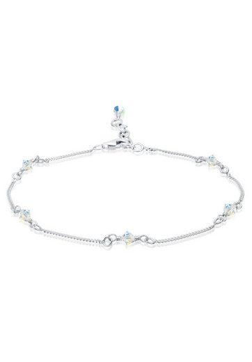 Elli Fußkette »Basic Strand Bead Swarovski® Kristalle 925 Silber«