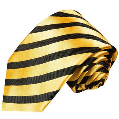 Paul Malone Krawatte »Moderne Herren Seidenkrawatte gestreift 100% Seide« Schmal (6cm), gold schwarz 830