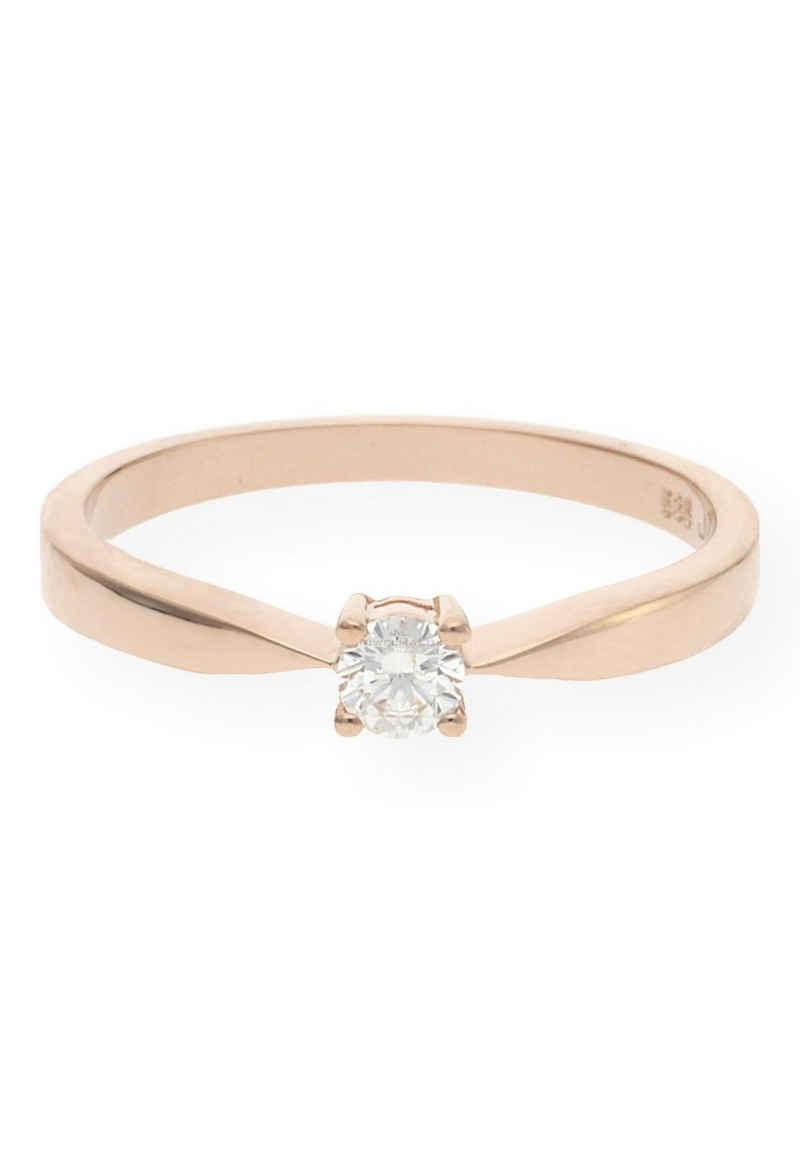 JuwelmaLux Verlobungsring »Verlobungsring Gold Damen mit Diamant(en)« (1-tlg), Rotgold 585/000, inkl. Schmuckschachtel