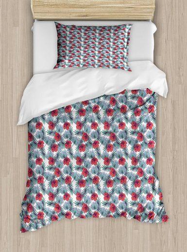 Bettwäsche »Top Qualität Weich und Warm 3 Teiligen Bettbezug mit 1 Kissenbezüge«, Abakuhaus, Exotisch Tropic Pflanzen und Hibiscus