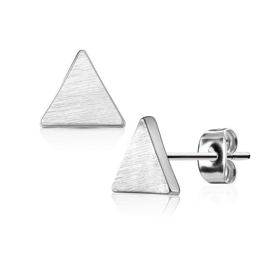 BUNGSA Ohrstecker-Set »Ohrstecker Dreieck gebürstet Silber aus Edelstahl« (inkl. Schmuckbeutel aus Organza), Ohrschmuck Ohrringe Frauen Geschenk Liebe
