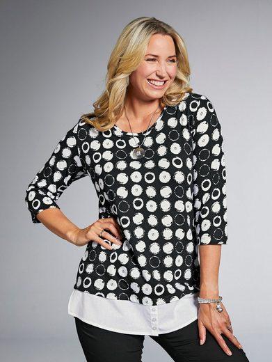 MIAMODA 2-in-1 Shirt mit Webeinsatz am Saum