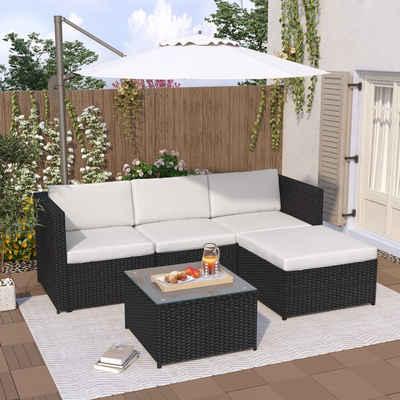 Masbekte Loungeset, Polyrattan Lounge-Sofagarnitur, Lounge-Gartenmöbel, Ecksofa, Couchgarnitur mit Sitz- und Rückenkissen, Lounge-Tisch mit Glasplatte