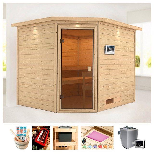 Saunen und Zubehör - KARIBU Sauna »Trixi«, 258x209x191 cm, 9 kW Bio Ofen mit ext. Steuerung, Dachkranz  - Onlineshop OTTO