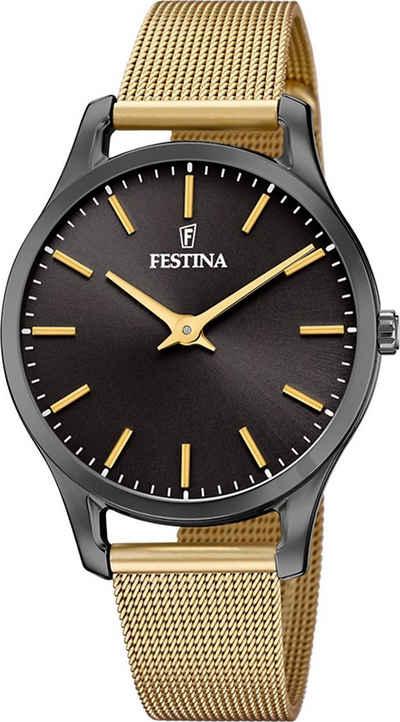Festina Quarzuhr »UF20508/1 Festina Damen Uhr F20508/1 Edelstahlband«, (Analoguhr), Damen Armbanduhr rund, Edelstahlarmband gold, Elegant