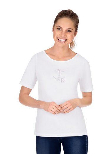Trigema T-Shirt mit modischem Strass Motiv