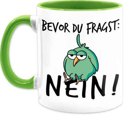 Shirtracer Tasse »Bevor du fragst: Nein! - Vogel - Schwarz - Kaffeetasse mit Spruch - Tasse zweifarbig«, Keramik, Statement Teetasse