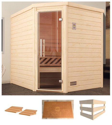 weka Sauna »Turku Eck 1«, BxTxH: 195 x 195 x 203,5 cm, 45 mm, ohne Ofen